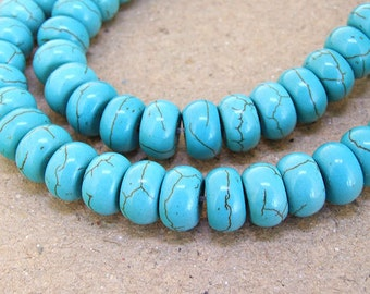 One Full Strand--- Rondelle Turquoise HeiShi Turquoise Gemstone Beads ----5mmx 8mm---- 70 Pieces----16 inch strand