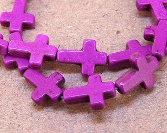 One Full Strand--- Cross Purple Turquoise Beads----12mm-16mm----about 25 Pieces----15.5inch strand