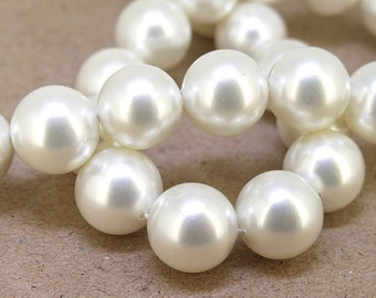 "14mm  Luster White  South Seashell Pearl beads Round Shell Pearl Full One Strand 15.5"" in length 28beads Per Strand LB1040"