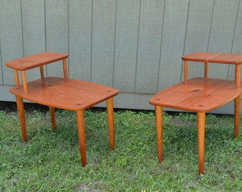 Superior Solid Cherry Mid Century Modern Step End Tables.Vintage/Danish  Modern/Atomic Era