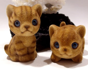 Pair of Josef Fuzzy Tiger Kitten Figurines