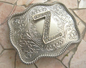 Letter Z Monogram Personalized Silver Belt Buckle, Rhinestone Initial Z Monogrammed Womens Mens Kids Western Belt Buckle, Custom Gifts