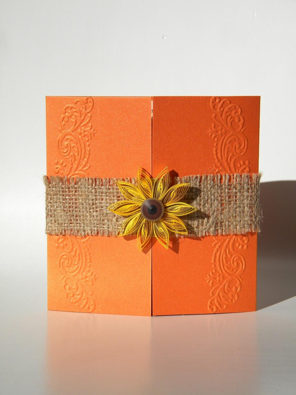 Orange sunflower invitation burlap sunflower by ancamilchis