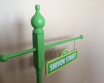 Personalized Sesame street inspired street sign - double sided - personalized - birthday/room decor - photo prop