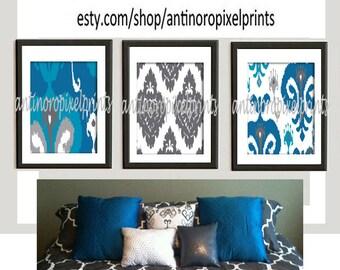 Turquoise Grey Ikat Digital illustration Wall Art - Set of (3) - 8x10 Prints -   (UNFRAMED)
