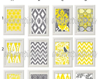 Free Shipping No Sales Tax Vintage / Modern inspired Art Prints Collection - Any (2) 8x10 Print - Featured in Yellow Grey White  (UNFRAMED)