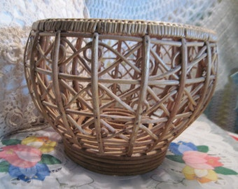 Very Different Pretty  Large Vintage Rattan Coiled swirled  Basket  :)