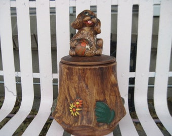 Price Reduced /  Puppy Cookie Jar  On a Tree Stump /