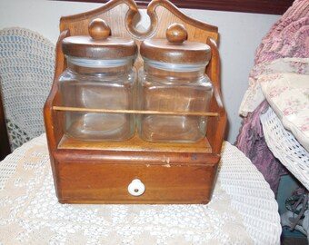 Canisters, Storage in Kitchen, Storage, Kitchen Decor, Vintage Kitchen Decor, Glass Canisters On Darling Country Shelf  :)s