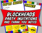 Blockheads Party Invitation & Thank You Note COMBO -- Printable DIY