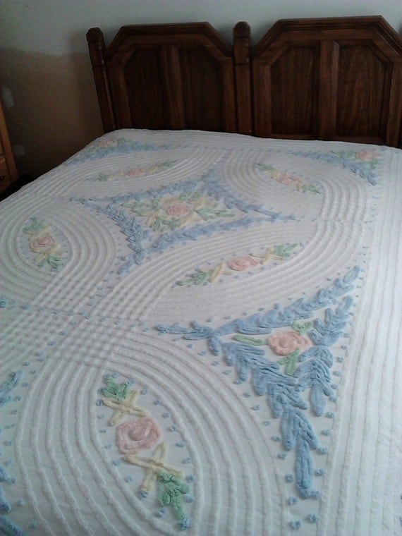 Vintage Chenille Bedspread Cotton Bedspread By Colonialcrafts