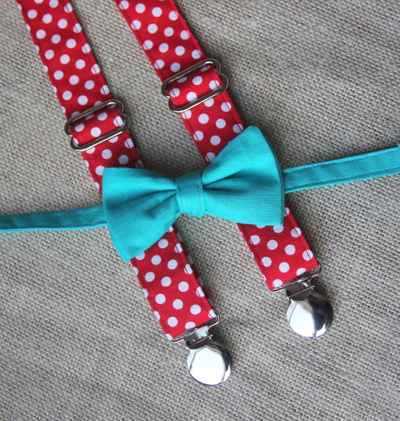 Teal / Turquoise Blue Bow Tie and Red / White Polka Dot Suspender set ( Men, boys, baby, toddler, infant )