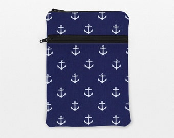 """Nautical iPad Pro 9.7"""" Case, Kindle Fire HD 8"""", Kobo Aura Pouch, Galaxy Tab 3 Cover, iPad Air Sleeves, Surface - white anchors in navy blue"""