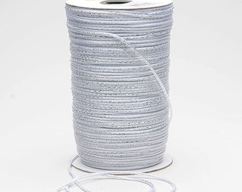 Clearance Sale White satin with silver metallic 2mm Rat Tail Cord (5 yards/15 feet) 50% off