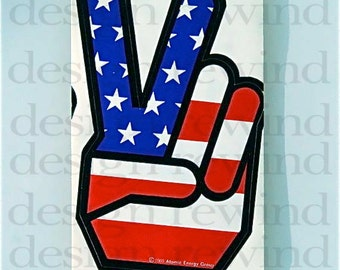 Atomic Energy Group Original 1969 Peace Sign Sticker - Red, White and Blue Hand Shaped Flag - Iconic American Symbol