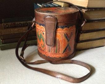 Vtg Aztec // Tooled Leather Crossbody Handbag