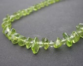 Natural Gemstone Peridot Small Nugget and Round Beads - 925 Sterling Silver Necklace