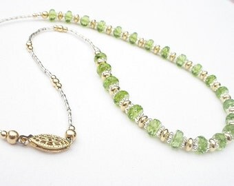 Natural Gemstone Peridot A Grade Faceted Rondelles - 925 Sterling Silver - 14kt Yellow Gold Filled - Necklace