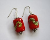 SRA sterling silver earrings , handmade glassbeads, set of 2 red beads , made by me