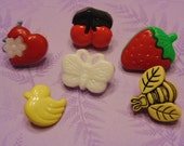 6 fruit, bugs and more button mix, 14-22 mm (40)