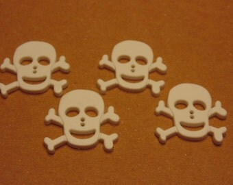 4 white skull buttons, 24 mm (B1)