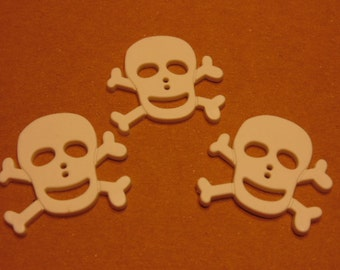 3 LARGE white skull buttons, 34 mm (B1)