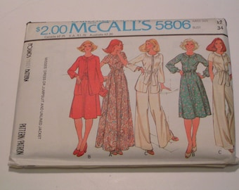 Vintage McCalls Pattern 5806 Miss Dress or Jumpsuit and Unlined Jacket