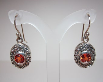 Lab Grown Padparadscha Sapphire Earrings