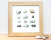 Beach pebbles art print, watercolor painting - Natural grey and beige stones, neutral cottage decor -  12 x 12 square giclee print