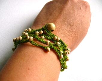 Linen crochet bracelet, crochet beaded bracelet, Bohemian, romantic bracelet, crochet bracelet, Birthday gift, Shabby chic bracelet, wedding