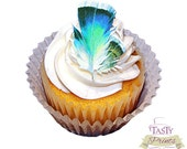 12 Edible Blue Feathers - Tasty Print - Cupcake Topper - Cake Decoration - Edible Decoration