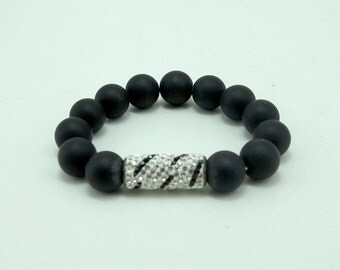 10 mm onyx,cylindrical crystal elastic bracelet.