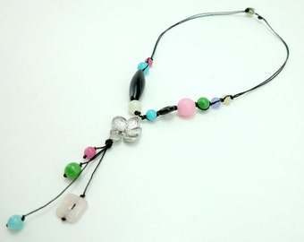 Flower charm,onyx,jade,rose quartz on wax cotton necklace.