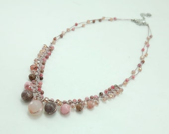 Cherry quartz,crystal,jasper hand knotted on silk thread necklace.