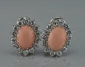 Glamorous natural angel skin coral and diamond vintage earrings