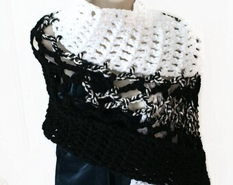 Womens Shawl, Shawl Wrap, Crochet Wrap, Elegant Shawl, Winter Wrap, Womens Wrap, Womens Stole, Chunky Shawl, Shoulder Shawl, Black Sha
