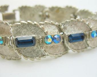 BSK Bracelet Silver and Blue Rhinestone Very Pretty