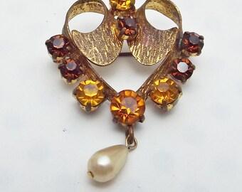 Fall Colors Rhinestone Goldtone Brooch Pin Topaz Brown Golden
