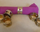 Vintage Brass Napkin Rings Cut-out Pine Tree Christmas Tree cut out Set of 6