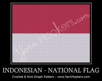 Indonesian National Flag - Afghan Crochet Graph Pattern Chart by Yarn Hookers