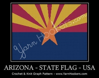 Arizona State Flag - Afghan Crochet Graph Pattern Chart - Instant Download