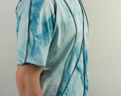 Hand dyed patchtwork steampunk shirt in blue