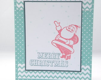 Santa Christmas card in Red and Blue