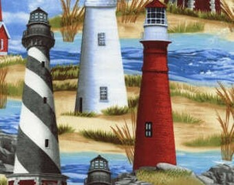 Timeless Treasures fabric LIGHTHOUSES