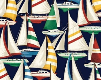 1/2 yd Windham fabric SAILBOATS on Blue