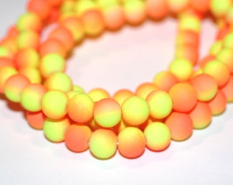 80pc Loose Beads/Orange and Yellow/Basketball wives inspired Rubberized Bracelet beads-Necklace Beads/8mm