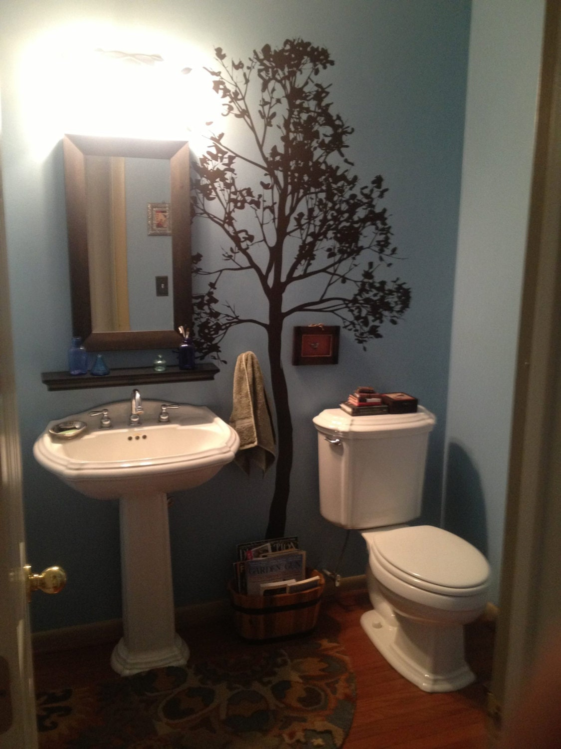 Large wall simple spring tree decal forest decor vinyl sticker for Spring bathroom decor