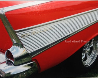 5 x 7 matted photograph, classic car, 57 Chevy, Red
