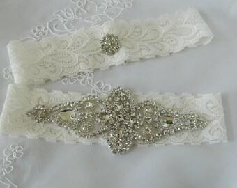 Wedding Garter Set, Garter, Bridal Garter, Garters, Crystal Applique Garter, Rhinestone Garter, Handmade Garter