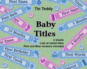 """Baby Titles Printable Digital Collage Sheets - 2 sheets of handy 6"""" titles and milestones for scrapbook pages and other crafts"""